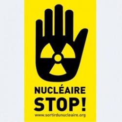 """Autocollant  main """"nucléaire STOP"""" vinyle permanent"""