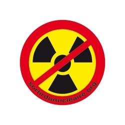 Badge symbole radioactivité barré