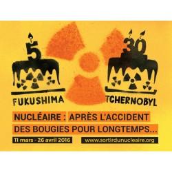 """Autocollant papier """"Fukushima-Tchernoby2016l"""" Lot de 10ex"""