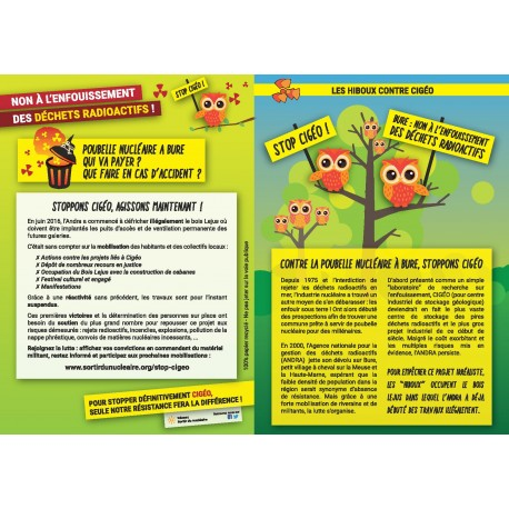 "Lot de 10 tracts ""Stop CIGÉO !"""