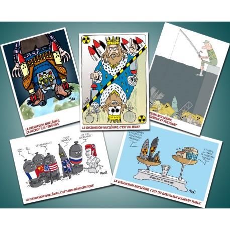 Lot de 5 cartes postales  anti nucléaire militaire