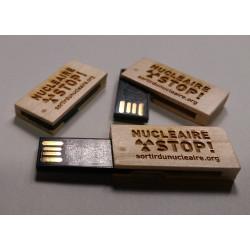 """Clé USB bois gravée """"NUCLÉAIRE STOP !"""""""