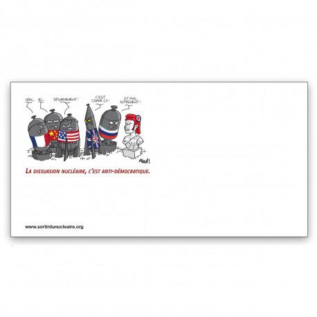 """Lot de 40 Enveloppes illustrées """"La dissuasion nucléaire, c'est anti-démocratique"""""""