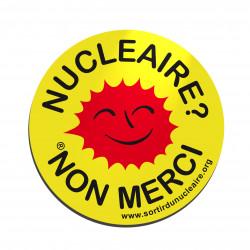 """Lot de 5 mini autocollants """"Nucléaire ? Non merci"""" Ø 4 cm"""